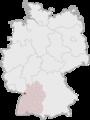 Tyskland, beliggenhed af Karlsruhe markeret