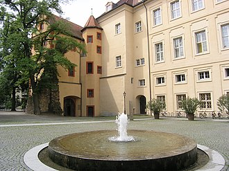 Karlsburg Castle - The rear section, with ancient remains of the wall
