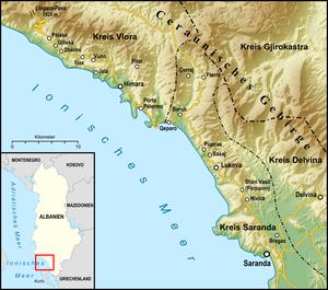 Albanian Riviera - Location of the Albanian Riviera