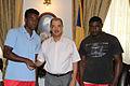Kevin Kilindo, James Michel and Keddy Agnes, July 2014.jpg