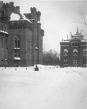 Knickerbocker storm - Deep snow drifts near the Smithsonian Institution in Washington, D.C.