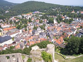 View from Königstein castle ruins over the town