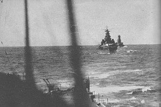 Japanese cruiser Takao (1930) - Image: Kondo Kirishima Nov 14