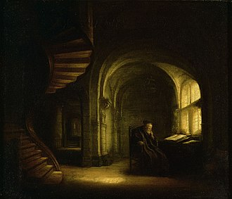 Philosopher in Meditation - Philosopher with an Open Book by Salomon Koninck