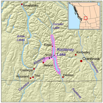 Kootenay Lake - Map of Kootenay Lake, British Columbia