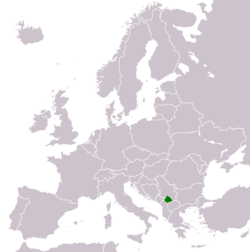 Location and extent of Kosovo in Europe.