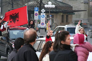 Flag of Kosovo - Kosovo Independence Celebration with flag of Albania