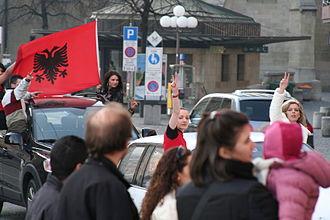 Flag of Kosovo - Kosovo Independence Celebration with flag of Albania