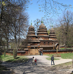 Vernacular architecture of the Carpathians - Kryvka Church (now on display at the Lviv Museum of Folk Architecture and Culture in Lviv, Ukraine) was originally from the Turka district, in the ethnographic territory of the Boyko people.  It's tripartite, domed design and all-wooden construction are representative of the regional style.