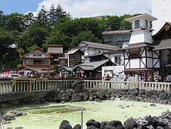 Yubatake hot spring in the center of Kusatsu