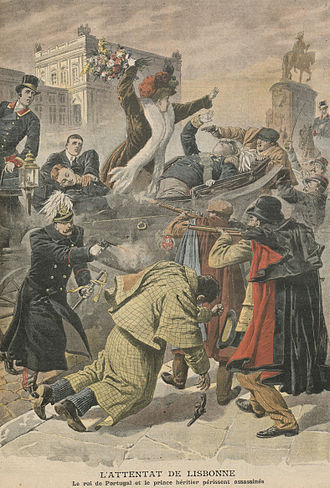 Lisbon Regicide - The Lisbon Regicide as depicted in the French Press, incorrectly showing four assassins rather than two (February 1908)