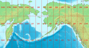 Bering Sea - Map showing the location of the Bering Sea with latitude and longitude zones of the Universal Transverse Mercator coordinate system