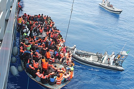 Libya has emerged as a major transit point for people trying to reach Europe LE Eithne Operation Triton.jpg