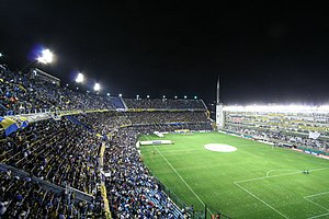La Bombonera - La Bombonera during a night game v. Colo Colo, with the refurbished boxes at right, March 2008.