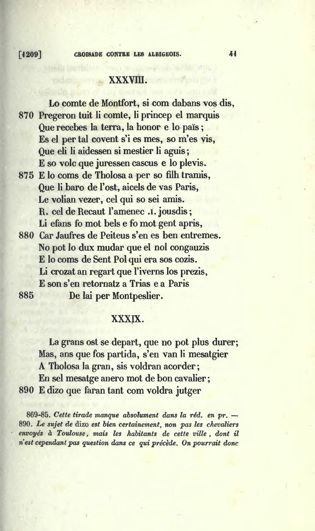 Pagela Chanson De La Croisade Contre Les Albigeois 1875