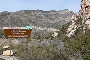 La Madre Mountains Wilderness - Sign for wilderness area, at road end above Willow Spring