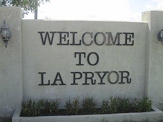 La Pryor, Texas - Welcome sign in La Pryor