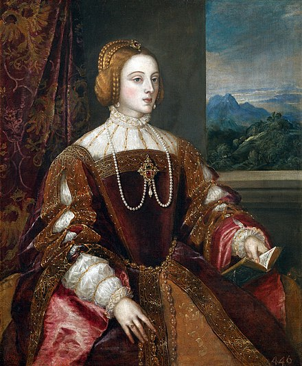 Isabella of Portugal, Charles's wife. Portrait by Titian, 1548 La emperatriz Isabel de Portugal, por Tiziano.jpg