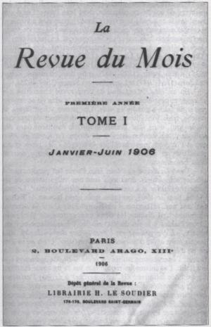 Camille Marbo - Cover of volume I of La Revue du mois January–June 1906.