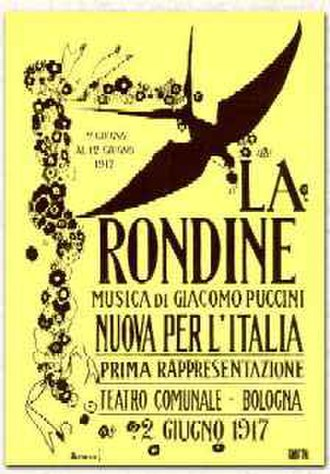 La rondine - Poster of a 1917 production in Bologna