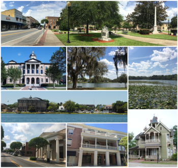 Top, left to right: Downtown Lake City, Columbia County Courthouse, Lake City Gateway Airport, Osceola National Forest, Lake DeSoto, Florida Gateway College, city hall
