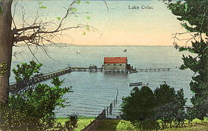 Lake Colac - A postcard showing Lake Colac with water