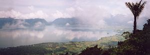 Lake Maninjau - Panorama of Lake Maninjau from the caldera rim
