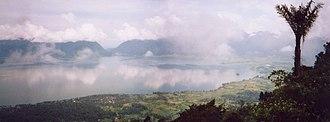 Lake Maninjau - Panorama of Lake Maninjau from the caldera rim