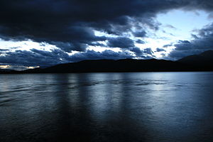 English: Lake Te Anau taken at night, just out...