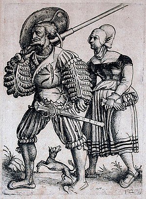 Tross - Landsknecht with his Wife. Etching by Daniel Hopfer.