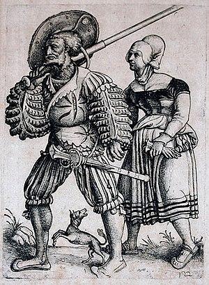 Hopfer, Daniel (ca 1470-1536): Landsknecht wit...