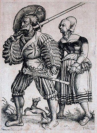 Landsknecht with his Wife, by Daniel Hopfer. Note the Zweihander over his shoulder and the smaller Katzbalger at his hip Landsknecht with his Wife.jpg