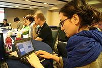 Lara during Wikimania Esino Lario discussion at Wikimania 2015.JPG