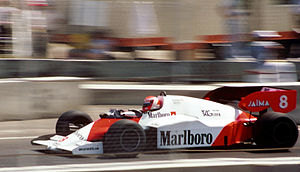 John Barnard - Niki Lauda in the 1984 championship winning McLaren MP4/2