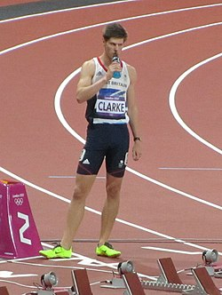 Lawrence Clarke prepares for the men's 100m hurdles final (7890479746).jpg