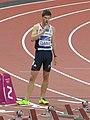 Lawrence Clarke prepares for the men's 100m hurdles final (7890479746).jpg