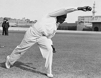 Learie Constantine - Constantine demonstrating his bowling technique