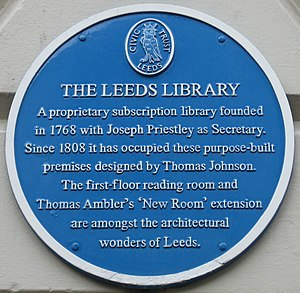 Leeds Library - Blue plaque on the exterior