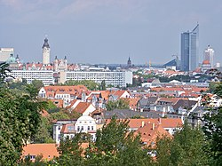 Leipzig skyline seen from Fockeberg