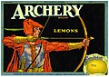 Lemon crate label, Archery Brand, Lehmann Printing and Lithographing Co. (16117080993).jpg