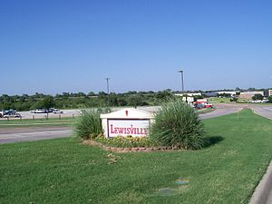 Lewisville entrance sign from west Valley Ridge Pkwy.jpg