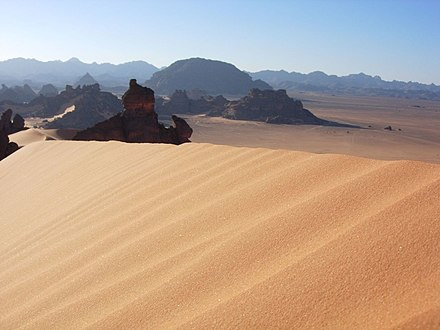 Libya is a predominantly desert country. Up to 90% of the land area is covered in desert. Libyan Dessert.jpg