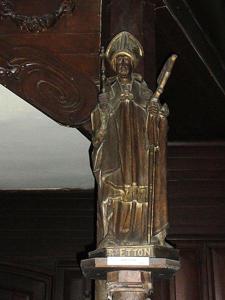 Liessies (Nord, Fr) église, statue St. Etton, XVIIIe siècle