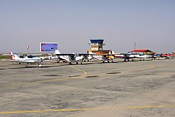 Light aircrafts parked at Qazvin Airport.jpg