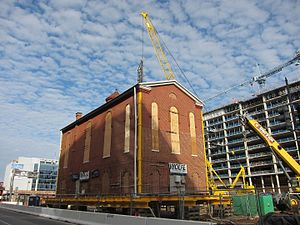 Lillian & Albert Small Jewish Museum - Adas Israel Synagogue being moved in 2017. This is the second time the building has been relocated.