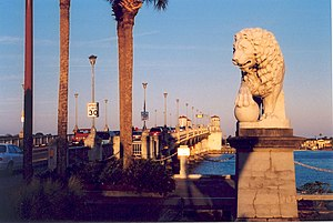 National Register of Historic Places listings in St. Johns County, Florida - Image: Lion on SA Bridge of Lions