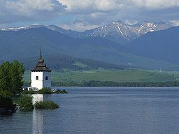 Liptovská Mara - church tower and water reservoir.jpg