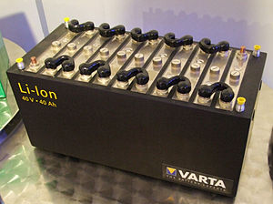 Lithium-ion battery - Varta lithium-ion battery, Museum Autovision, Altlussheim, Germany