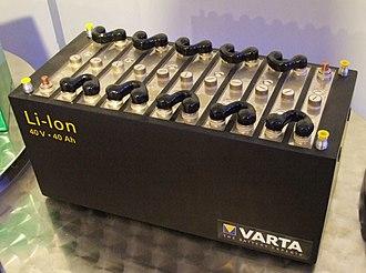 Lithium-ion battery - Varta lithium-ion battery, Museum Autovision, Altlussheim, Germany