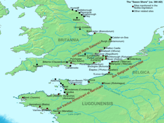 Saxon Shore - The fortifications and military commands of the Saxon Shore system extended on both sides of the Channel.